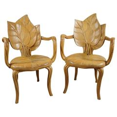 Pair of Carved Wood Leaf Armchairs