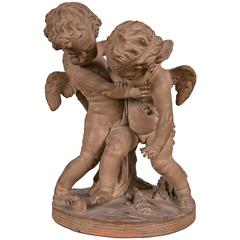 Terracotta Group of Two Cupids