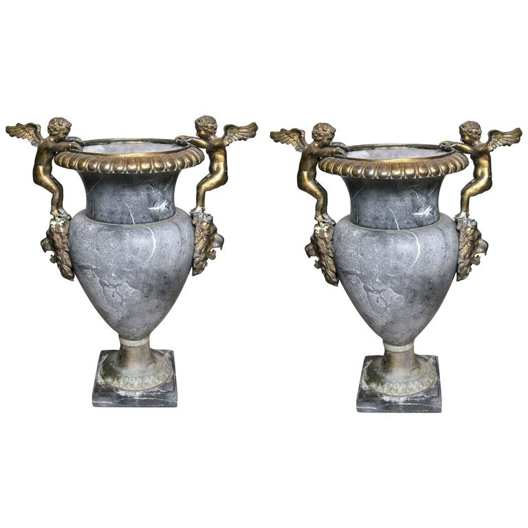Pair of Marble Urns For Sale