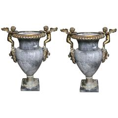 Pair of Marble Urns