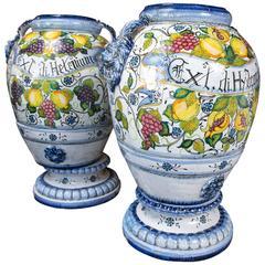 Pair of Glazed Pottery Italian Storage Jars
