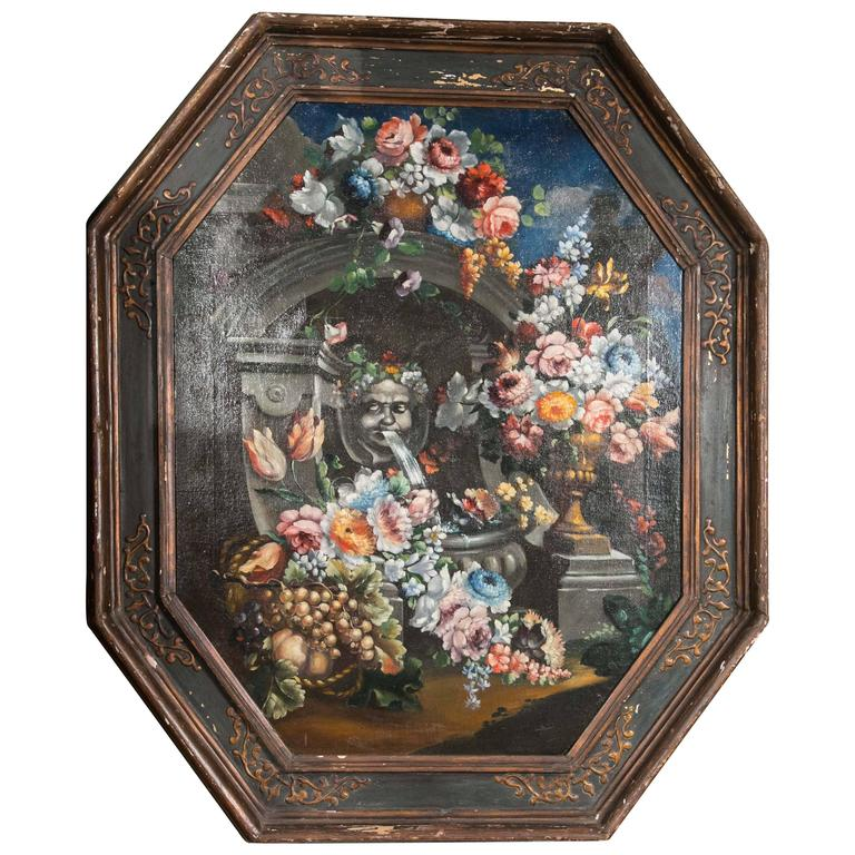 19th Century Still Life Painting of Octagon Shape
