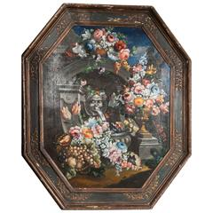 19th Century Still Life Painting of Octagon Shape