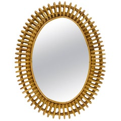 Oval Mid-Century Rattan Wicker Wall Mirror, Franco Albini Style, Italy, 1950s