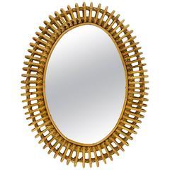 Oval Mid-Century Rattan Wicker Wall Mirror, Franco Albini Style, Italy, 1950s