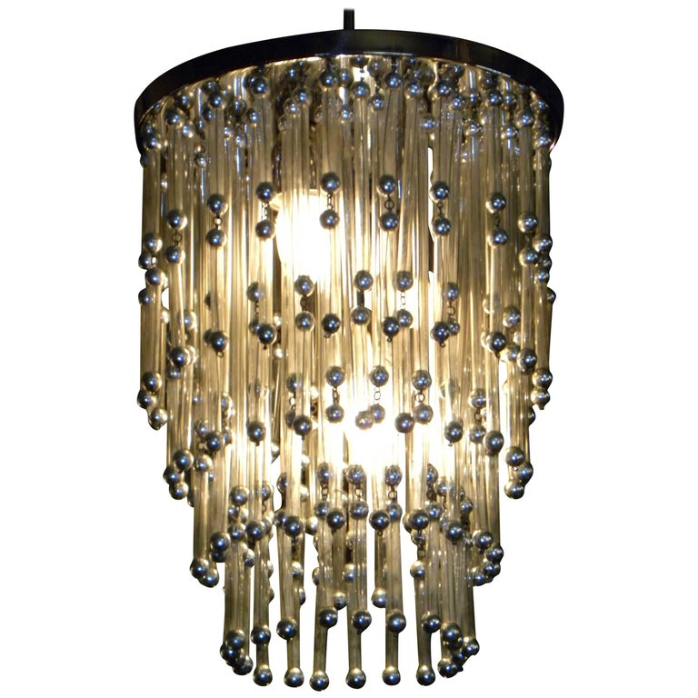Unusual Art Deco Chandelier with Silver Balls For Sale