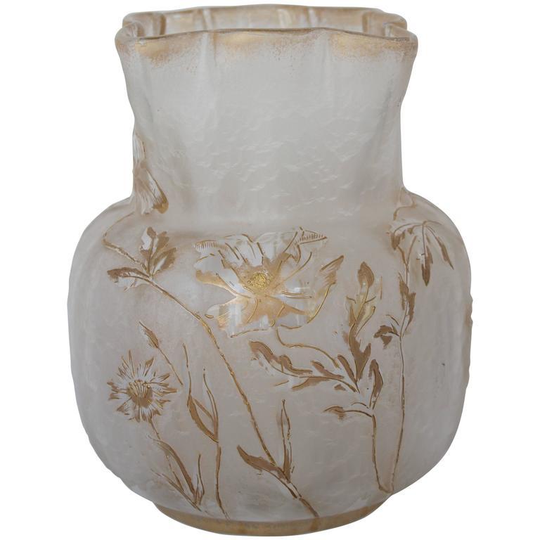 Glass Vase by Francois-Theodore T. Legras Signed Saint Denis 1