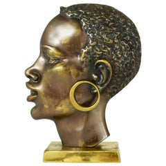 Beautiful Brass Bust of an African Man, Hagenauer Style, Austria, 1950s