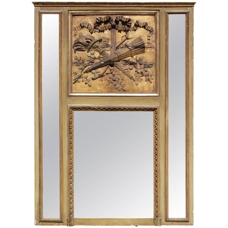 "French Louis XVI Period Mantel Trumeau Mirror ""A Parecloses"" For Sale"