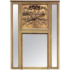 "French Louis XVI Period Mantel Trumeau Mirror ""A Parecloses"""