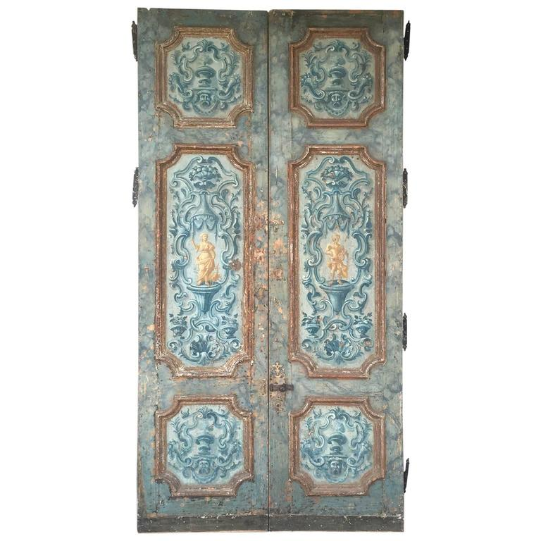 Antique Pair of Extravagantly Painted Doors from Naples, Italy 18th Century 1