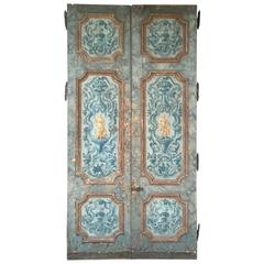 Antique Pair of Extravagantly Painted Doors from Naples, Italy 18th Century