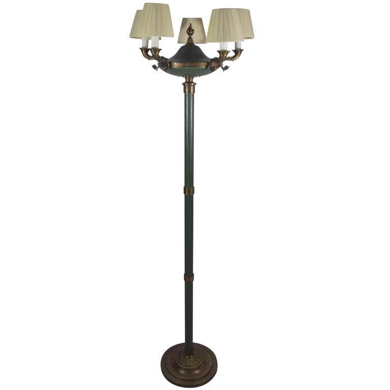 early 20th century floor lamp five lights brass and bronze details. Black Bedroom Furniture Sets. Home Design Ideas