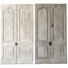 Two Pairs of Matching Antique Cabinet Doors with Reclaimed Hardware