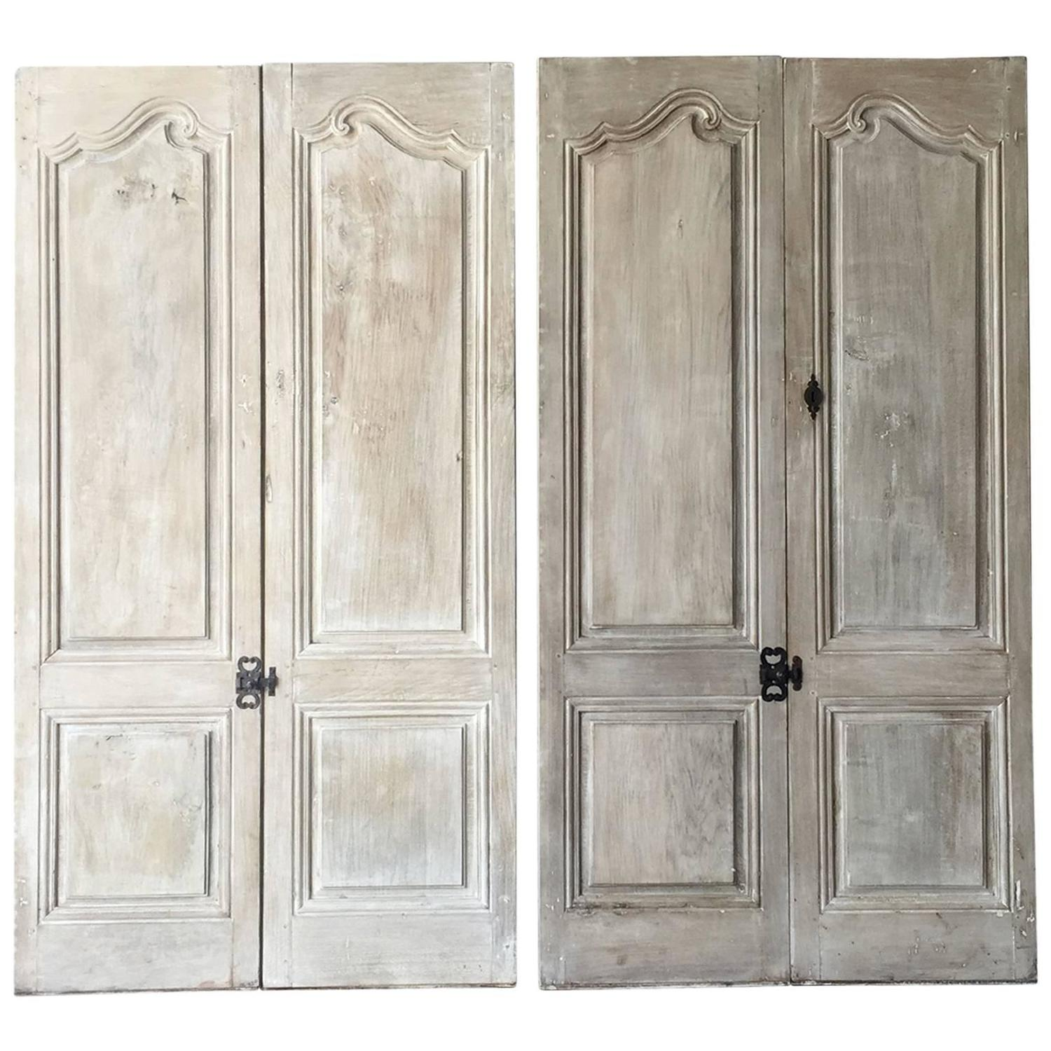 Salvaged Kitchen Cabinets For Sale: Two Pairs Of Matching Antique Cabinet Doors With Reclaimed