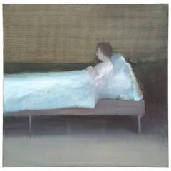 """Large Acrylic Painting by Charles K. Sibley, """"Resting Figure"""""""