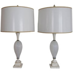 Pair Midcentury Italian Seguso White Murano Art Glass and Marble Table Lamps