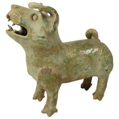 Ancient Chinese Han Dynasty Green Glazed Pottery Figure of a Barking Dog