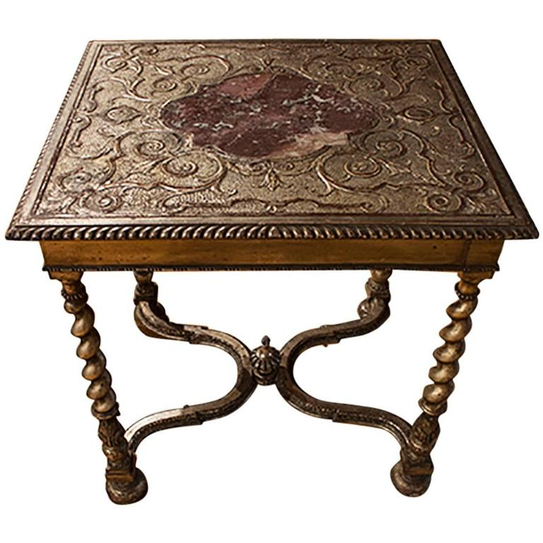 English Silver Gilt Table with Marble Insert 1