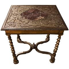 English Silver Gilt Table with Marble Insert
