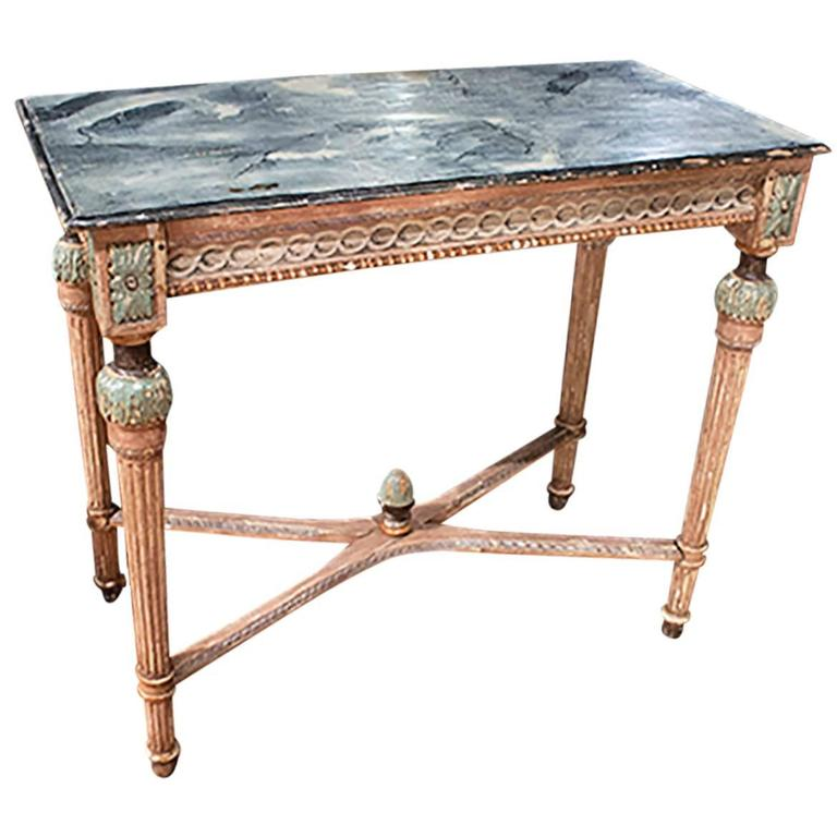 Louis XVI Painted Faux Painted Top Console 1