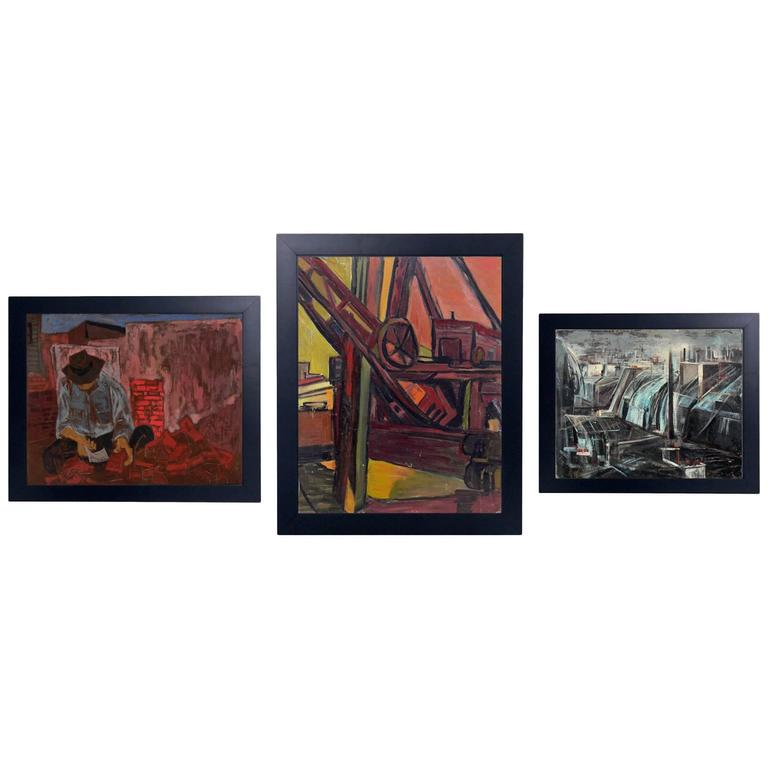 Group of Three WPA Era Paintings