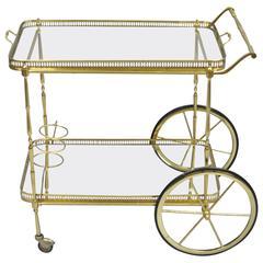 Italian Hollywood Regency Brass and Mirror Rolling Serving Bar or Tea Cart