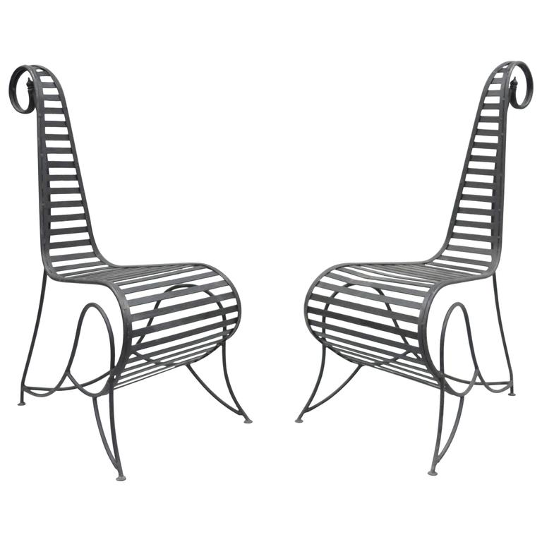Pair of Sculptural Steel and Iron Spine Lounge Chairs after André Dubreuil For Sale
