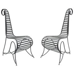 Pair of Vintage Whimsical Steel Iron Spine Lounge Chairs after André Dubreuil