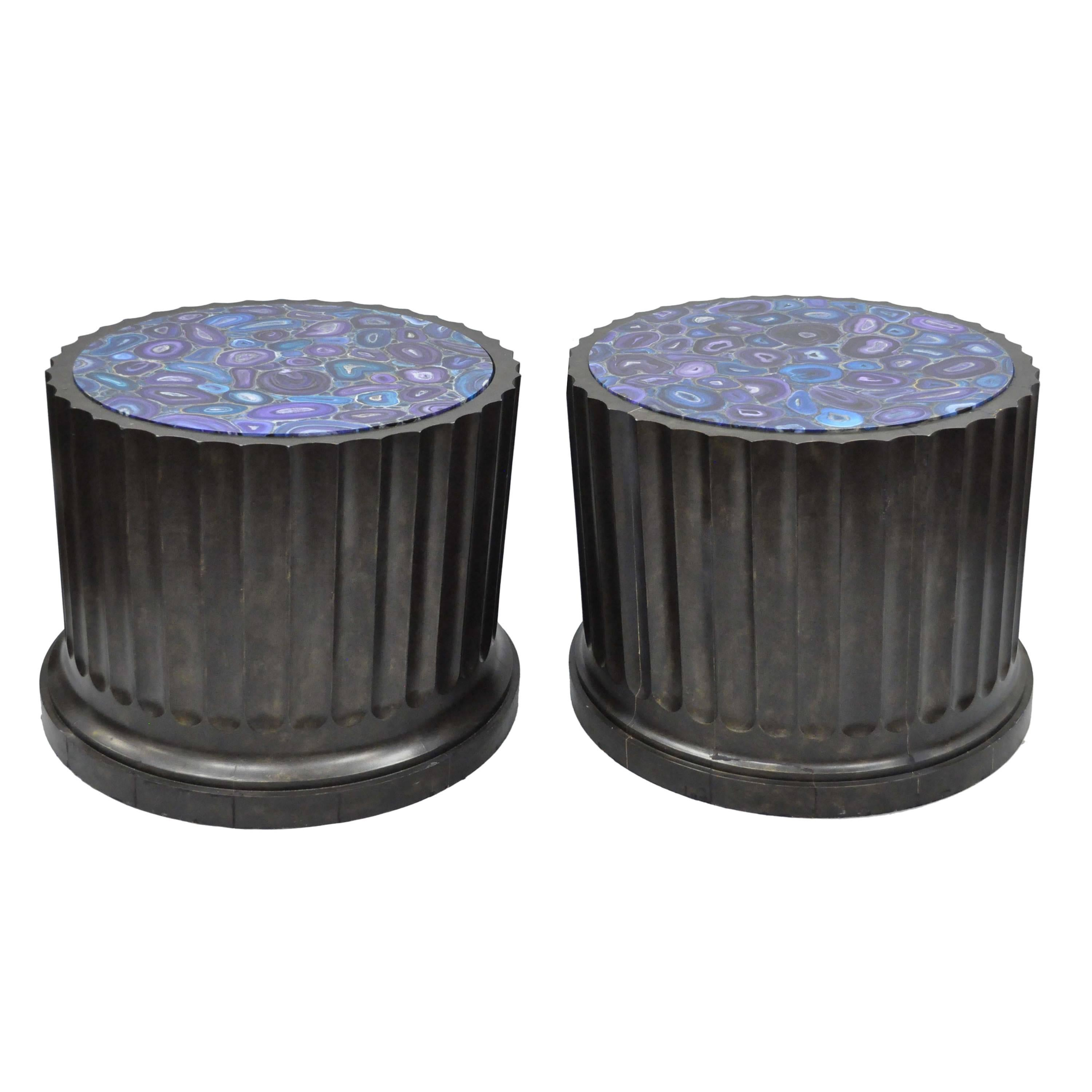 Large Pair Custom Fluted Column Pedestal Stand Painted Faux Purple Malachite Top