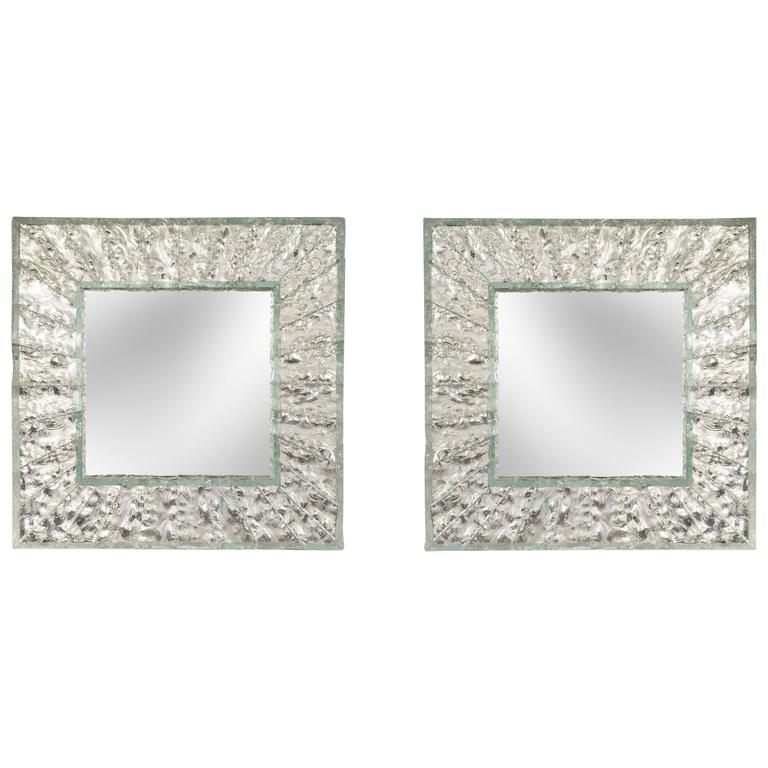 Roberto Rida, Pair of Large Martelé Colorless Glass Mirrors
