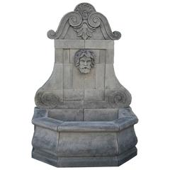 20th Century Italian Limestone Wall Fountain