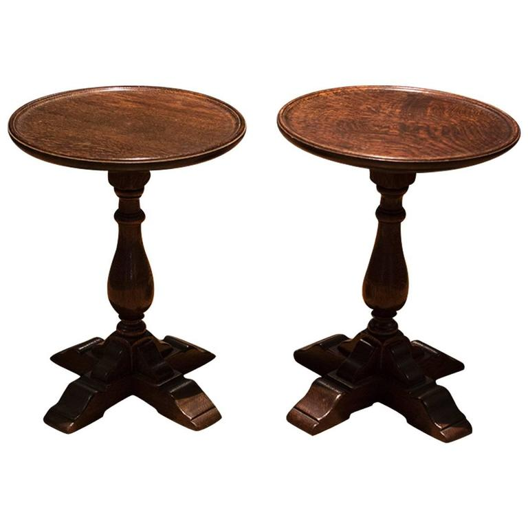 Pair of English Round Low Tables 1