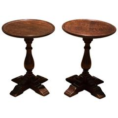 Pair of English Round Low Tables