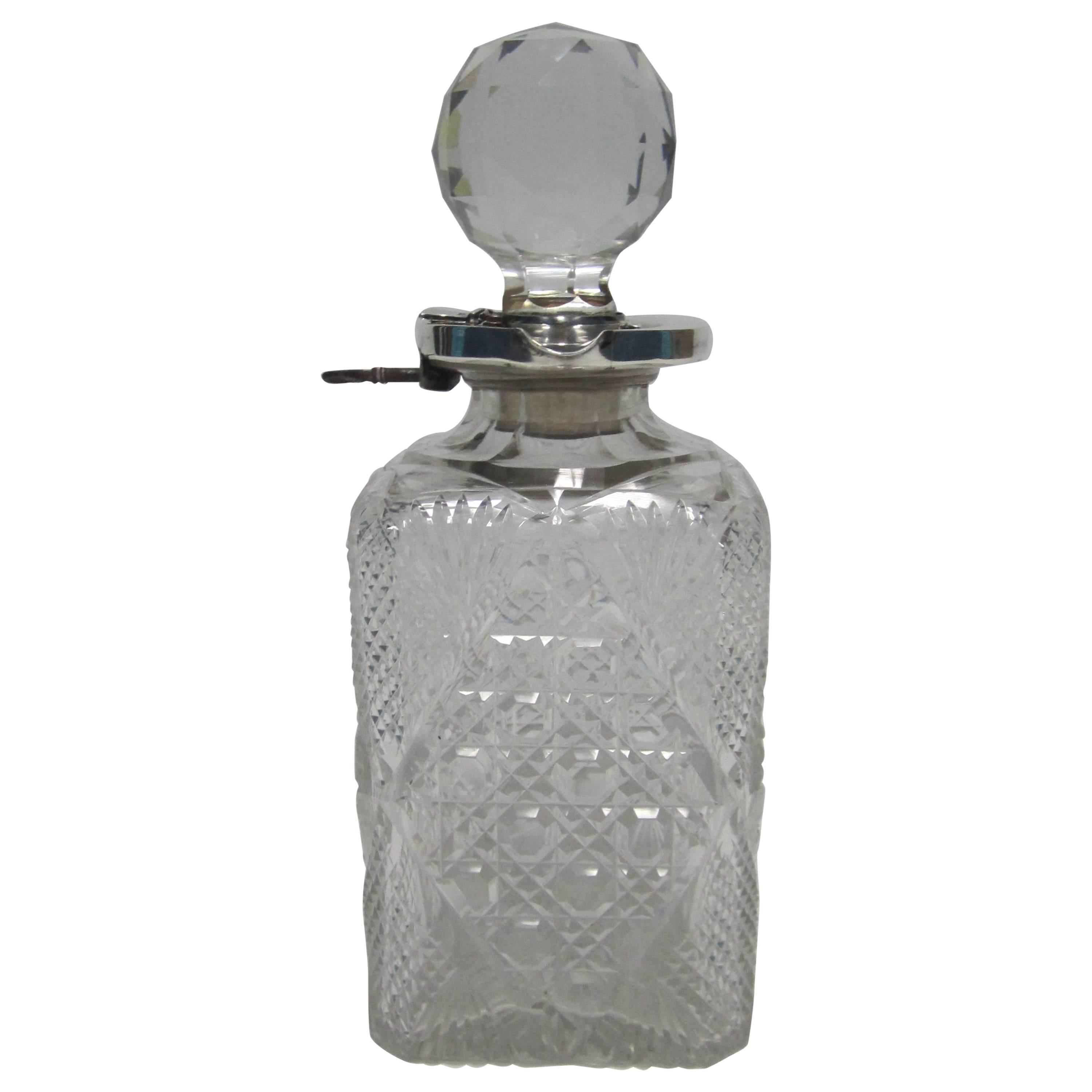 English Sterling Silver and Crystal Liquor Spirit Bar Decanter