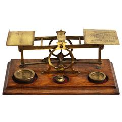 Antique English Mahogany and Brass Postal Scales