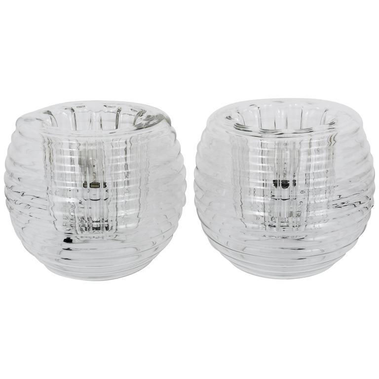 Two Italian Ribbed Glass Side Lamps, Carlo Nason Mazzega Style, Italy, 1950s