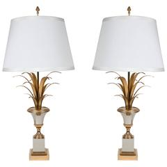 """Pair of """"Medici and Palm Leaves"""" Table Lamps, by Maison Charles"""