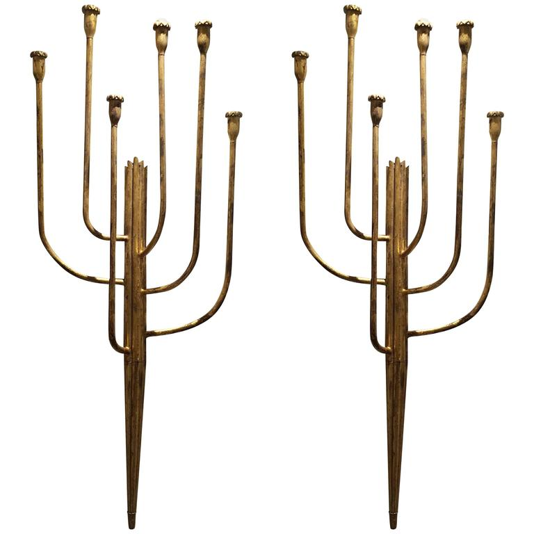 Pair of Monumental French Six-Light Gilt Iron Wall Sconces