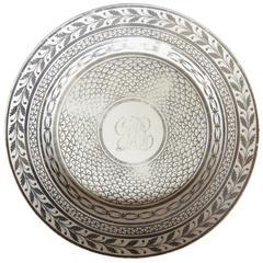 Italian Platinum Painted Creamware Neoclassical Plate