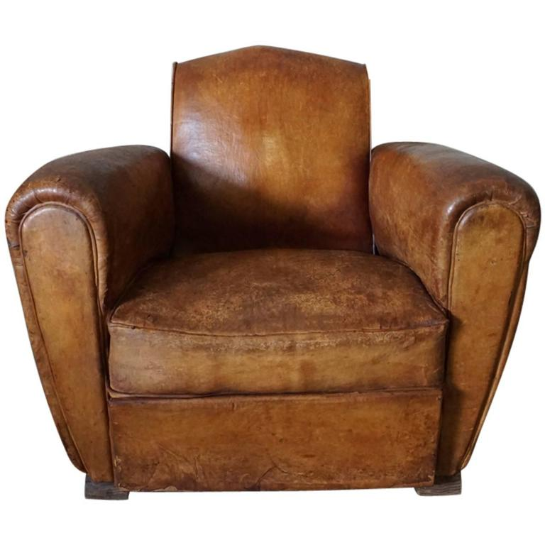 Art Deco Cognac Leather Club Chair 1940s at 1stdibs
