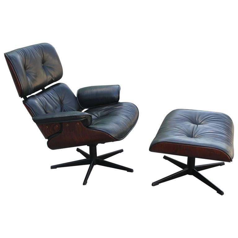 Iconic eames style lounge chair and ottoman at 1stdibs Iconic chair and ottoman