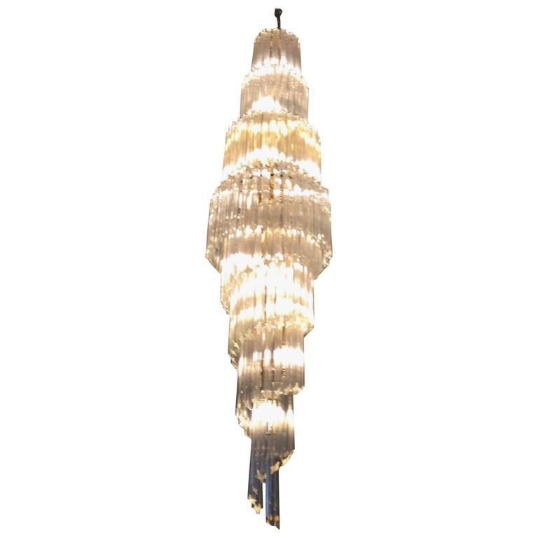 Mid-Century Italian Murano Spiral Glass Chandelier by Camer