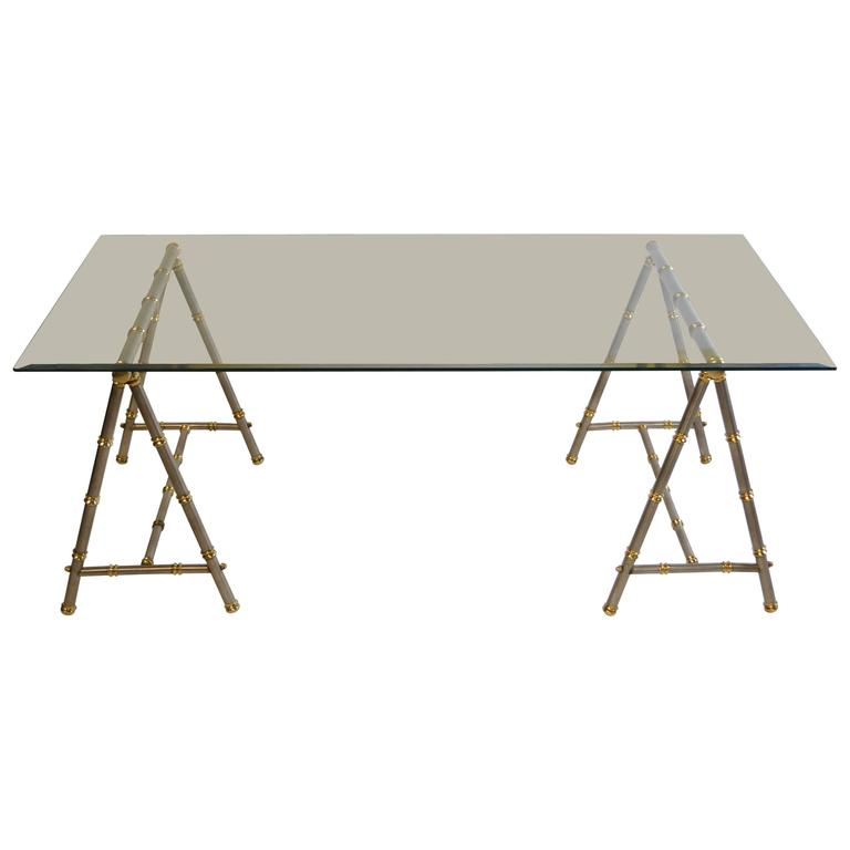 Maison Jansen Style Steel and Brass Coffee Table