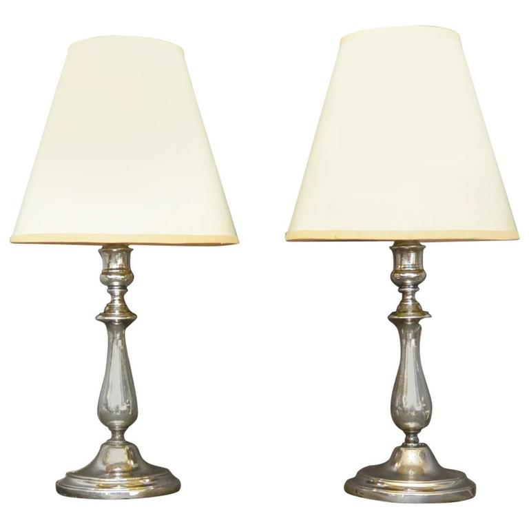 Pair Of Vintage Christofle Silver Candlestick Lamps For Sale