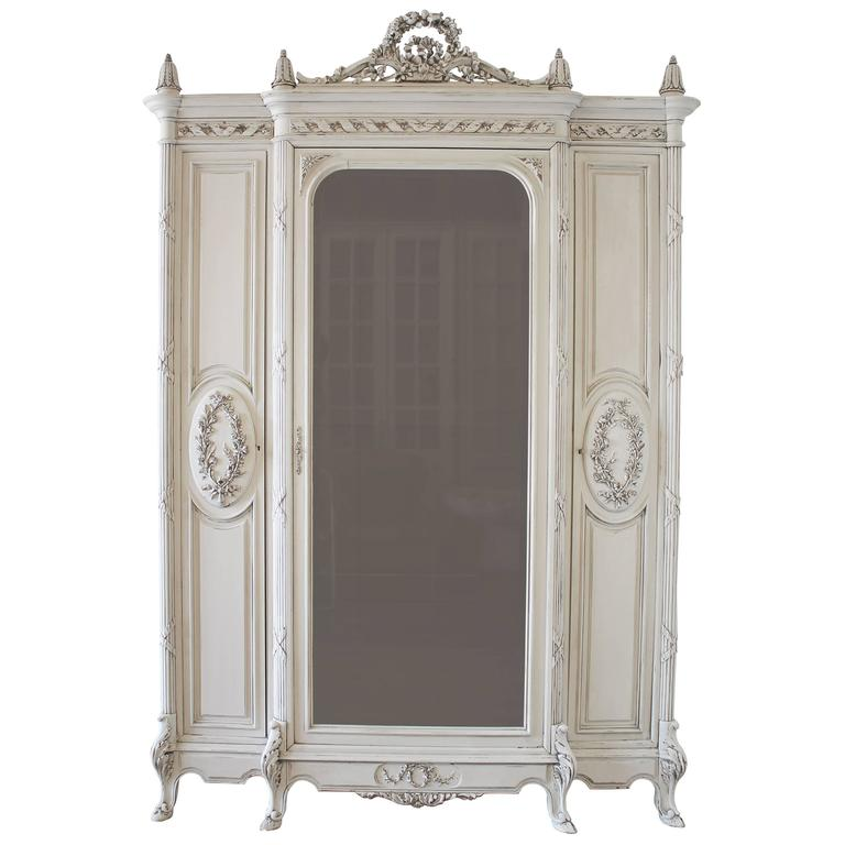 19th century painted antique french louis xv style armoire. Black Bedroom Furniture Sets. Home Design Ideas