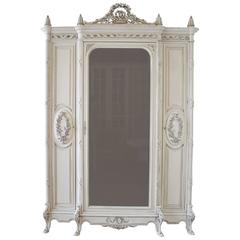 19th Century Painted Antique French Louis XV Style Armoire Display Cabinet