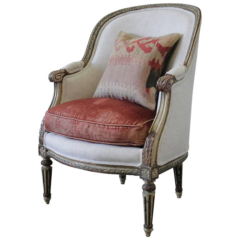 louis xvi antique painted french bergere chair in natural linen at 1stdibs. Black Bedroom Furniture Sets. Home Design Ideas