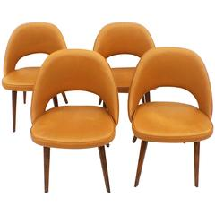 Four Set of Four Early Eero Saarinen Executive Chairs with Wooden Legs