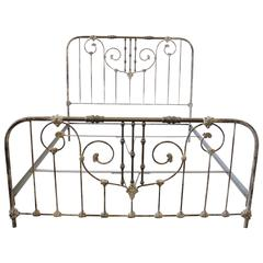 Vintage King-Size Parisian Style Iron Bed with Distressed Paint Finish